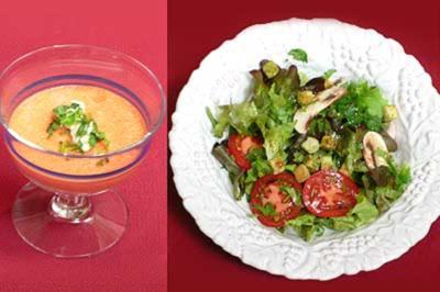 Mousse von Tomaten, Paprika und Minze sowie Salat mit frischem Koriander - Rezept