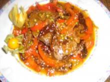 Filetsteak mit Tomaten-Paprikagemüse - Rezept