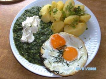 Spinat mit  Feta- Blub und Spiegelei....ganz Klassisch;-) - Rezept