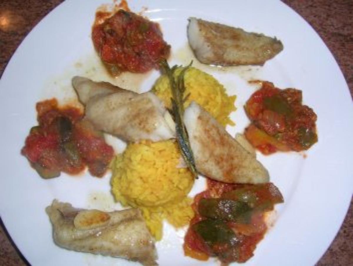 Seeteufel mit Steinpilzstaub an Ratatouillle-Gemüse und Safran Reis - Rezept By rowiwo