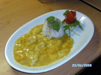 Rezept: Mango- Geflügel-Kokos-Ingwer-Cürry mit Reis