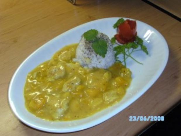 Mango- Geflügel-Kokos-Ingwer-Cürry mit Reis - Rezept