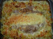 Hackbraten im Kartoffelgratin - Bett - Rezept