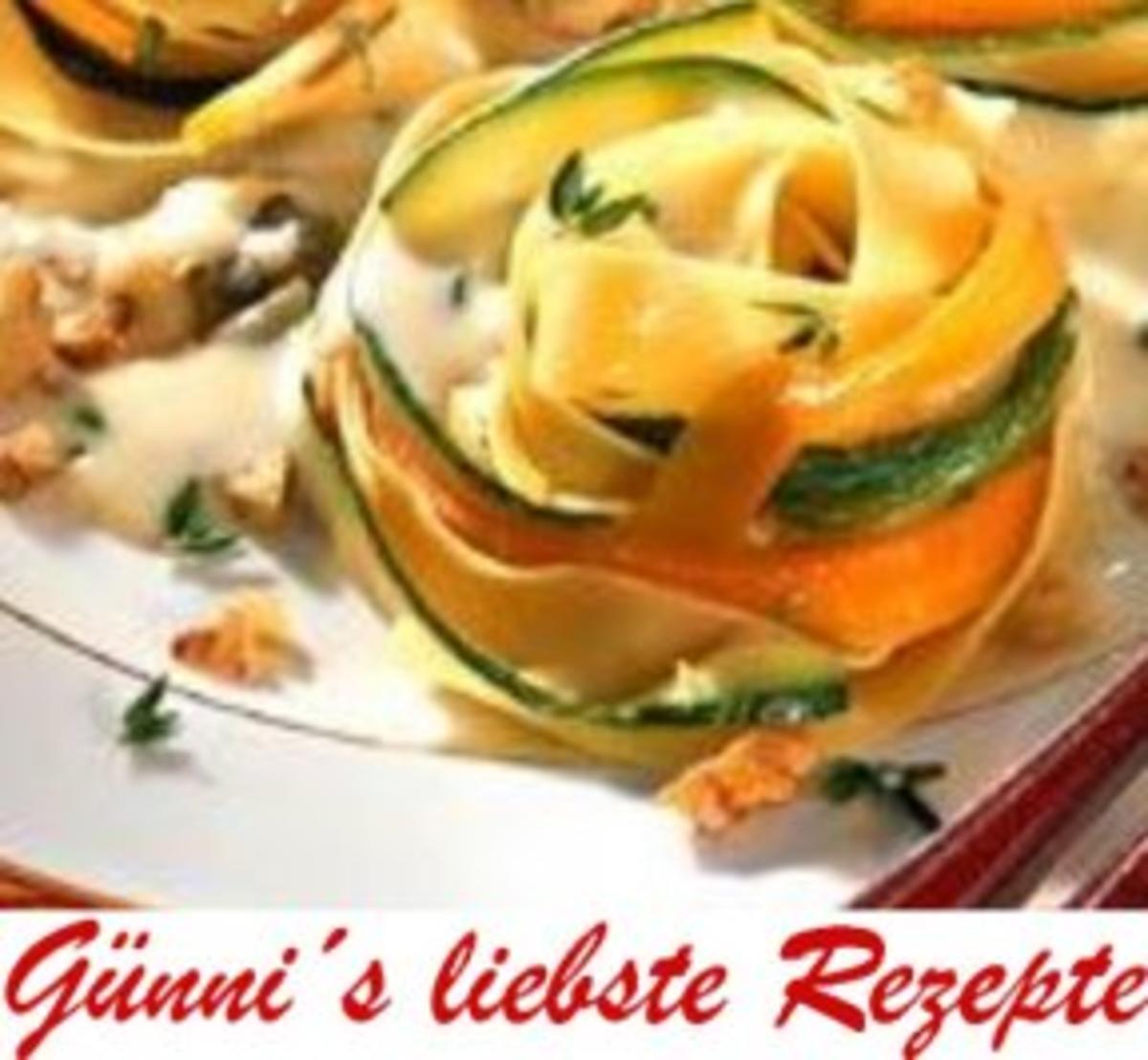 Nudel-Nester mit Wallnuss-Käse-Soße - Rezept Eingereicht von Tauchschwein
