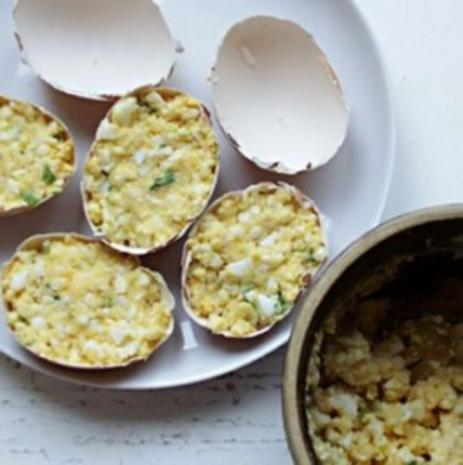 Gefüllte Eier in Schale( Vegetarisch) - Rezept - Bild Nr. 3