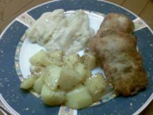 Kalbsrückensteak paniert mit Kohlrabi und Kartoffeln - Rezept