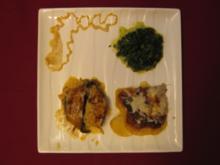Überbackenes Kalbsfilet mit Sahnekartoffeln und Cremespinat - Rezept