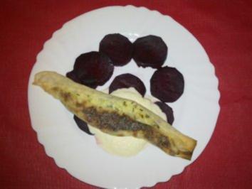 Rote-Bete-Carpaccio, Zigarre vom Ziegenkäse, Meeretticheis - Rezept