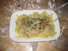 Lachs mit Zitronen-Dill-Soße und Bandnudeln - Rezept