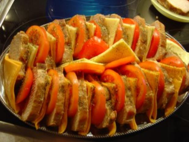 Lachs-Braten vom Schwein mit Käse und Tomaten - Rezept - Bild Nr. 5