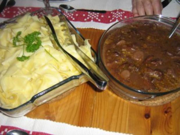 Zweierlei Filet mit Speckbohnenpäckchen an Bandnudeln mit Rotwein-Orangen-Pilzsoße - Rezept - Bild Nr. 2