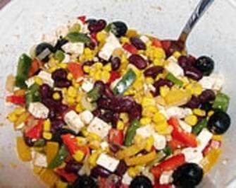 Rote Bohnen - Schafskäse - Salat - Rezept