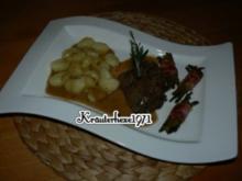 Lammrückenmedaillons mit Gnocchi und Böhnchen im Speckmantel - Rezept