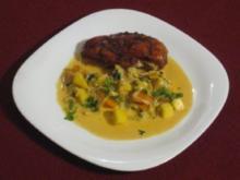 Huhn in Salzkruste mit indischer Curry-Gemüse-Soße - Rezept
