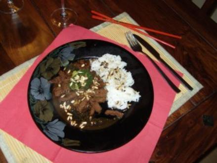 chinesisches -scharfes Rindfleisch mit Brokkoli - Rezept