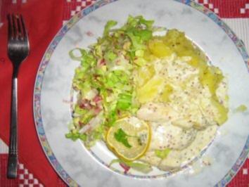 Pangasiusfilet mit Butter-Fenchel-Kartoffeln mit Kräuter-Senf-Sauce - Rezept