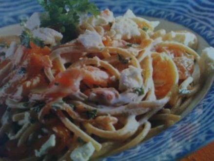 Spaghetti al Salmone mit Lachs und Feta - Rezept