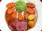 Rinderfilet mit Sauce Bordelaise, Erbsenflan, Karotten und Kartoffeln - Rezept - Bild Nr. 9