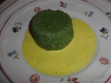 Spinatflan mit Safransauce - Rezept