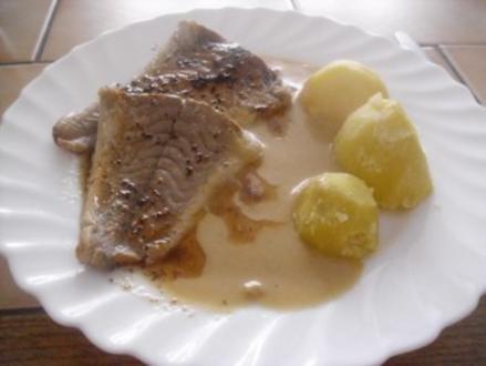 Kochfisch - Senfsoße - Kartoffeln - mit brauner Butter - Rezept