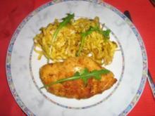 Hähnchenbrust-Cordonbleu mit Salami-Kräuterfrischkäse an Tagliatelle - Rezept