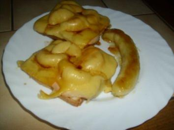 Toast überbacken + gebratene Banane - Rezept