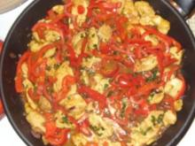 Hähnchenbruststreifen mit Paprika-Chili-Gemüse und Nudeln - Rezept
