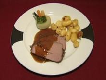 Chateaubriand mit Pfeffersoße, dazu Gemüsekörbchen und Petersilienkartoffeln (Mirco Wallraff) - Rezept