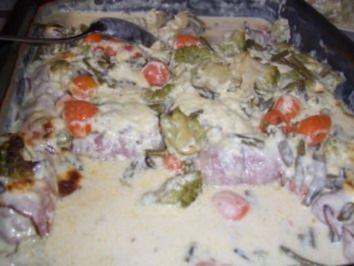 Rezept: Hackfleisch...Mettröllchen im Gemüsebett