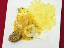 Baby-Ananas-Carpaccio mit Joghurteis u. Safran-Kokos-Krokant - Rezept