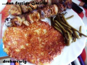 Hauptgericht~Schaschlik mit Rösti und in Butter geschwenkten Bohnen - Rezept