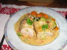 Schweinefilet gefüllt mit Brokkoli-Frischkäse an Zucchini-Fenchel-Gemüse - Rezept