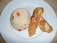 Putenbrust - Käseröllchen mit Paprika - Reis - Rezept