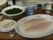 Pangasiusfilet mit Blattspinat-Blauschimmelkäse-Sahnesoße - Rezept