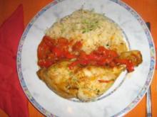 geschmorte Hähnchenschenkel an Paprikagemüse und Basmatireis - Rezept