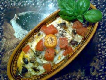 ** aus dem Ofen ** Feta mit Tomaten, Oliven, Champignons und Ei überbacken - Rezept