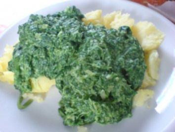Pellkartoffeln mit Spinat und Spiegelei - Rezept