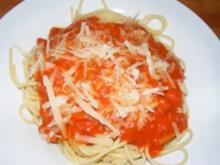 Spaghetti mit einem Tomatensugo - Rezept