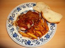 CurryWurst mit frischen Pommes - Rezept