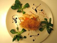 Kaisergranat in Teigstreifen auf Schwarzwurzel-Aprikosen-Salat - Rezept