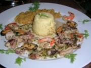 Meeresfrüchte mit Linsensalat und Kartoffel-Flan - schmeckt absolut lecker - - Rezept