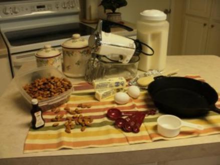Pfanne Mandel Kuchen -Muss in einer schweren eisener Pfanne gebacken werden- Mit eingestellten Bildern - Rezept