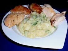 Brathähnchen mit warmen Kartoffel-Gurkensalat - Rezept