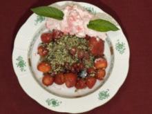 Rote Früchte mit süßem Kürbiskerngranulat und frischer Himbeersahne (René Koch) - Rezept