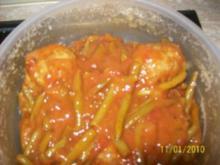 bohnen mit Fleischbällchen in Tomatensoße - Rezept
