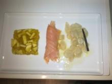 Schwarzwurzel mit Gelee vom Weißen Winterglockenapfel und geräuchertem Lachsforellenfilet - Rezept