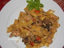 Garnelen-Pilz-Paprikasoße zu Nudeln - Rezept