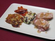 Gefülltes Schweinefilet mit Zucchinischiffchen und Kartoffel-Knoblauchrösti - Rezept