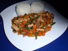 Fleisch-Gemüse-Pfanne mit Basmatireis - Rezept