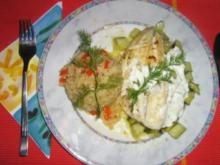 Zanderfilet auf  Dill-Gurken an Paprikareis - Rezept